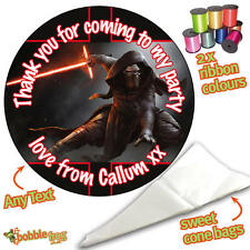 24 Personalised Kylo Ren Star Wars DIY Sweet Cone Party Bags Kit Sticker 851