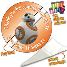 24 Personalised BB-8 Star Wars DIY Sweet Cone Ribbon Party Bags Kit Sticker  854