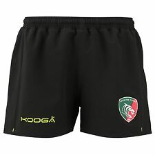 KooGa Mens Gents Leicester Tigers Rugby Training Shorts Bottoms - Black/Green