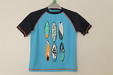 BNWOT Boys Swim Top Rash Vest Surf Boards Design Age 6-12 Years *FREE P&P*