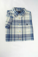 BOYS RALPH LAUREN  ORIGINAL PLAID COTTON  BUTTON DOWN SHORT-SLEEVE SHIRT.