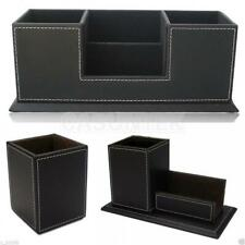 Business Office Desk PU Leather Pens Holder Organizer Container Decor S/M/L