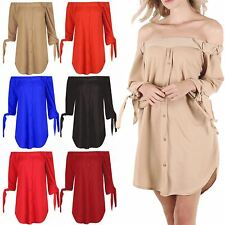 Womens Crepe Off Shoulder Curved Hem Ladies 3/4 Tie Sleeve Buttons Shirt Dress