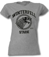 Game Of Thrones Stark Winterfell T Shirt OFFICIAL Distressed Ladies Skinny Large
