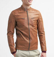 Gordania Stylish Slim Fit Bomber Faux Leather Jacket For Men GD288TAN