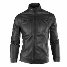 Gordania Stylish Slim Fit Biker Leather Jacket For Men GD263 Black