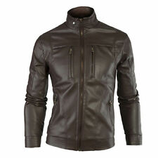 Gordania Stylish Slim Fit Biker Leather Jacket For Men GD263 Brown
