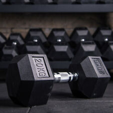 Hex Dumbbells Rubber Iron Weights Encased Ergo Sets Dumbbell Gym Extreme Fitness