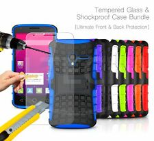 For HTC - Shockproof Hybrid KickStand Case Cover & Glass Protector