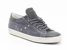 Leather Crown uomo, M101, sneakers camoscio e nabuk, grigio verde A4102