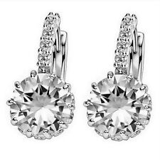 Fashion Alloy Silver-Plated Geometry Crystal Earring Simple Jewelry Design Round