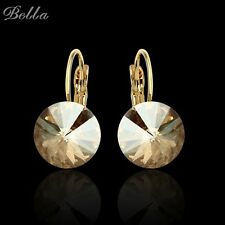 2016 Fashion Sapphire Jewelry Gold plated Earring For Women Austrian Crystal Pur