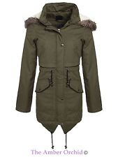 Bravesoul Womens Ladies Oversized Fur Hooded Fishtail Jacket Parka Military Coat