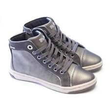 Geox Girls Pewter Leather High Top With Easy Zip Fastening | Geox Jr Creamy