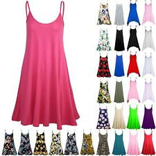 Womens Ladies Sleeveless Plain Strappy Camisole Flared Swing Dress Long Top