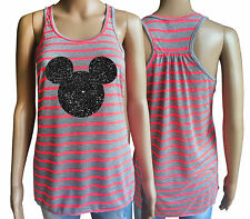 Ladies Athletic Heather / Neon Pink  tank top with black glitter Mickey mouse.