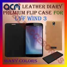 ACM-LEATHER PREMIUM FLIP FLAP CASE for LYF WIND 3 MOBILE FRONT/BACK FULL COVER