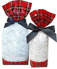 10 x TARTAN Christmas Gift Bag Block Bottom Clear Cello Sweet Candy Treat Bag