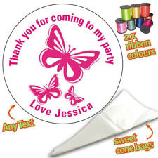 24 Personalised Butterfly Pink DIY Sweet Cone Ribbon Party Bags Kit Sticker 742