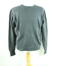 RALPH LAUREN L LARGE POLO MENS CABLE KNIT BLACK NECK SWEATER PULLOVER PONY