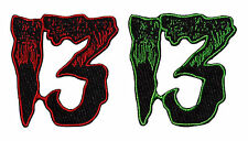 Kreepsville 666 Unlucky 13 Friday Horror Fabric Iron On Patch 13th Red or Green