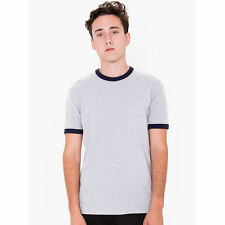 American Apparel Fine Jersey Short Sleeve Ringer T-Shirt - Heather Grey/Navy