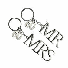 60th Diamond Wedding Anniversary Silver Plated Mr & Mrs Keyring Set - New
