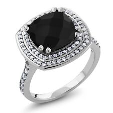 5.22 Ct Cushion Checkerboard Black Onyx 925 Sterling Silver Ring Sizes 5 to