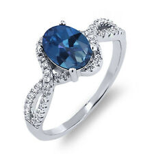 2.18 Ct Oval Royal Blue Mystic Topaz 925 Sterling Silver Ring