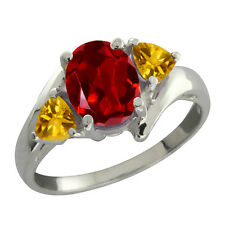 1.80 Ct Oval Garnet and Citrine 925 Silver Ring