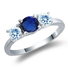 1.21 Ct Round Blue Simulated Sapphire Sky Blue Topaz 925 Sterling Silver Ri