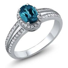 1.10 Ct Oval London Blue Topaz 925 Sterling Silver Ring