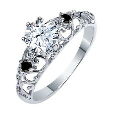1.01 Ct Round White Topaz Black Diamond 925 Sterling Silver Ring