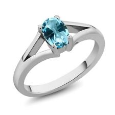 1.00 Ct Ice Blue 925 Sterling Silver Ring Natural Topaz Cut by Swarovski