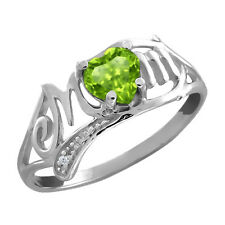 0.52 Ct Heart Shape Green Peridot 925 Sterling Silver Mom Ring