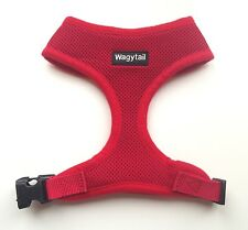 Dog Harness Soft Breathable Air Mesh Red New Comfy Wagytail optional lead