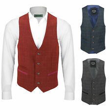 Mens Vintage Tweed Check Waistcoat Smart Casual Vest Charcoal Grey Maroon Blue