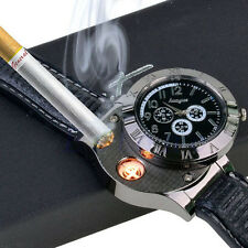 Silver Metal Body Imported USB Rechargable Electronic Cigarette Lighter Watch