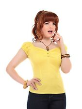 COLLECTIF VINTAGE DOLORES TOP YELLOW SZ 8 - 22 1950S POLKA DOT