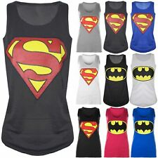 Womens Ladies Batman Superman Superwoman Girls Comic Hero Tank Top T Shirt Vest