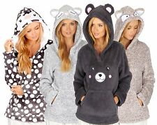LADIES ANIMAL CHARACTER HOODED FLEECE SNUGGLE TOP
