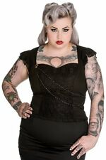 Ladies Plus Size Spin Doctor Black Lace Gothic Vampire Steampunk Victorian  Top