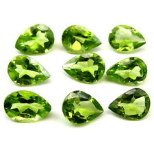 6.1Ct 9pc Lot Natural Green Peridot Pear 7X5mm Faceted Gemstones