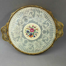 Vintage ROUND Petit Point Vanity TRAY ~ Ornate Brass Handles ~Embroidered Floral