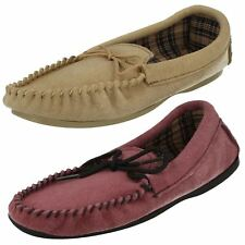 Ladies Bella Slip On Suede Leather Classic Mocassin Slippers