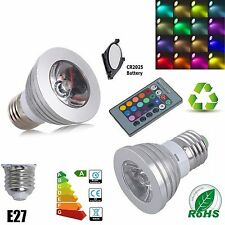 16 Color E27 Remote Control 3W 5W RGB LED Light Bulb Dimmable Lamp UK Seller