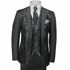 Mens Black Leopard Print 3 Piece Slim Fit Funky Italian Style Suit Wedding Party