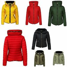 Womens Ladies Quilted Padded Puffer Bubble Fur Collar Warm Thick Jacket Coat