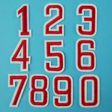 Red Number 0 - 9 Iron on Sew Patch Applique Embroidered School Sports Motor Cute