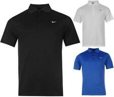 Nike Solid Polo Shirt Mens Nike Motif Dri Fit 3 Button Top ~All sizes S-XXL